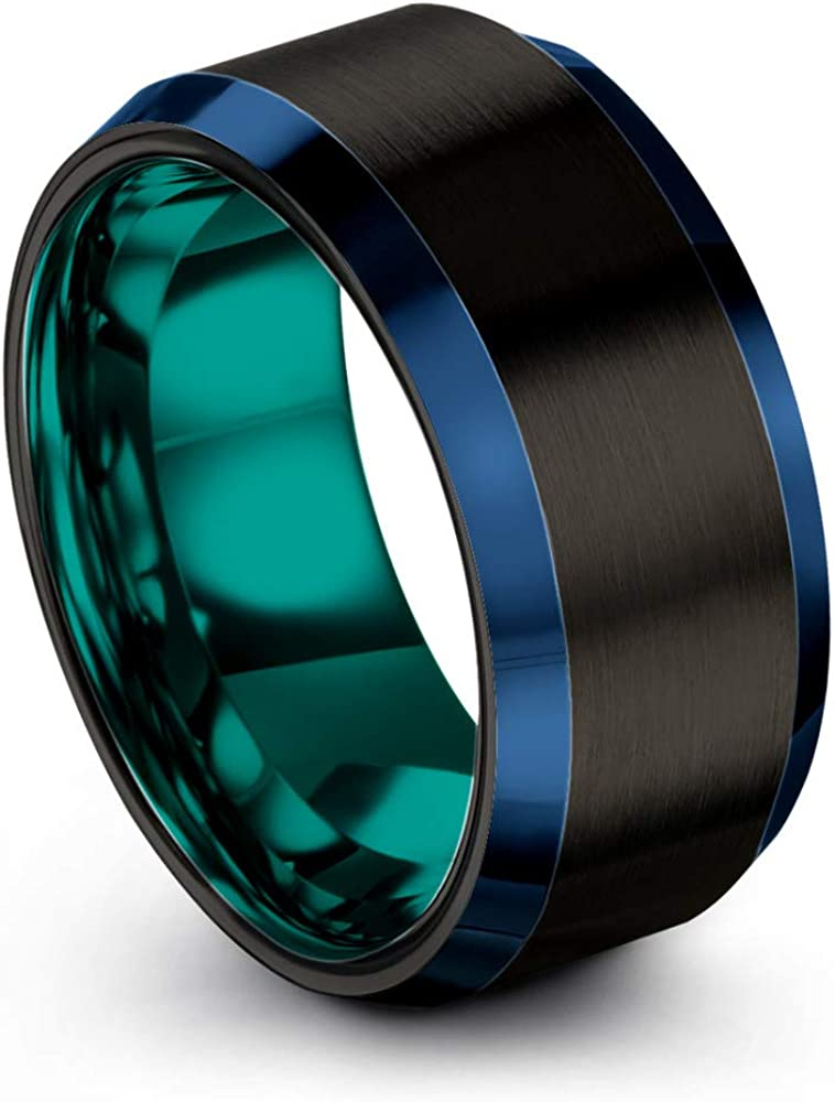 Chroma Color Collection Tungsten Carbide Wedding Band Ring 10mm for Men Women Green Red Blue Purple Black Gunmetal Copper Fuchsia Teal Interior with Blue Beveled Edge Brushed Polished