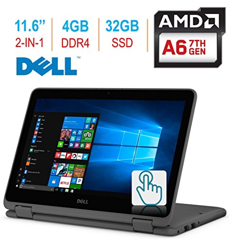 "2018 Newest Dell Inspiron 3000 11.6"" 2-in-1 Touchscreen Laptop/Tablet PC, 7th Gen AMD A6-9220e 2.5GHz Processor, 4GB 2400MHz DDR4, 32GB SSD, Bluetooth, WiFi, MaxxAudio, Windows 10-Grey"