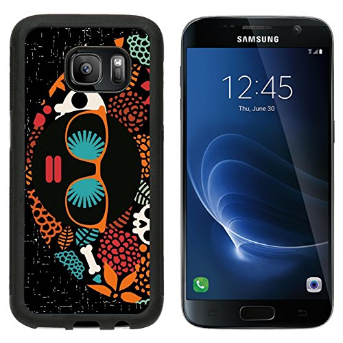 MSD Premium Samsung Galaxy S7 Aluminum Backplate Bumper Snap Case Black head woman with strange pattern on her hair Vector illustration IMAGE (Hippie Hairstyles For Halloween)