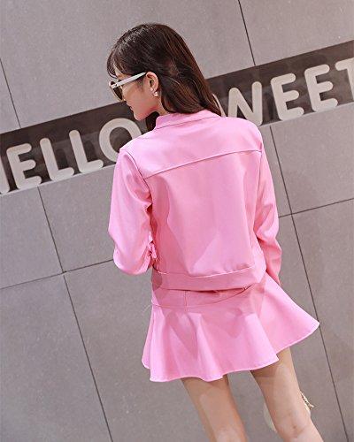 Cuero Larga 2 Chaqueta Piezas Top PU Outwear Pink Falda Mini Mujer Manga Set ZUx85qqw