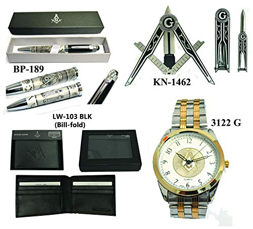 (Father's Day Gift (Set) Masonic Pen + Wrist Watch + Leather Wallet)