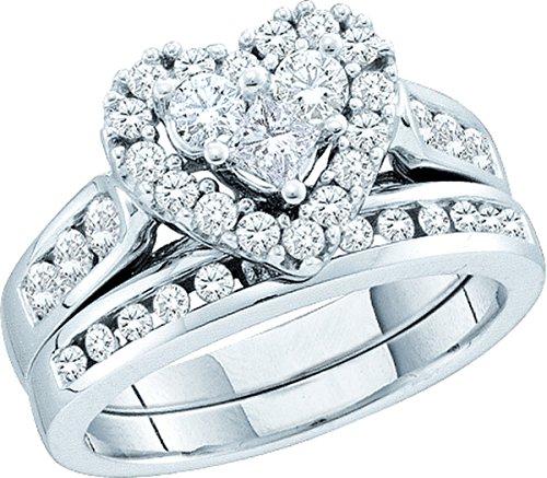14kt White Gold Womens Princess Round Diamond Heart Bridal Wedding Engagement Ring Band Set 1.00 Cttw by JawaFashion