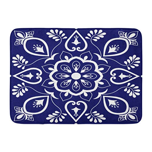 Emvency Doormats Bath Rugs Outdoor/Indoor Door Mat Ornaments Pattern Blue and White Floral Motifs Portuguese Azulejo Mexican Talavera Spanish Italian Bathroom Decor Rug Bath Mat 16