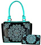 Montana West Concealed Carry, Mandala Boho Embroidered Trapezoid Tote + Wallet