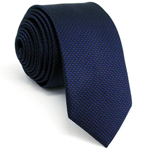 Navy Blue Silk Necktie (Shlax&Wing Neckties Solid Blue Navy Silk Skinny Ties for Men Silk Navy)