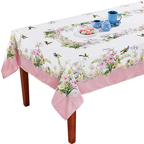 (Collections Etc Hummingbird Garden Printed Tablecloth - Spring Dining Room and Kitchen Decorative Accent, Rectangle)