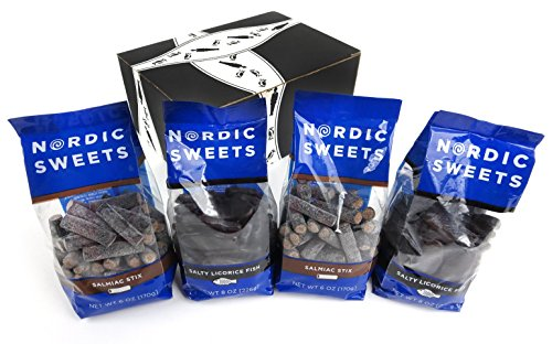 Nordic Sweets Licorice 2-Flavor Variety: Two 8 oz Bags of Salty Licorice Fish and Two 6 oz Bags of Salmiac Stix in a BlackTie Box (4 Items Total)