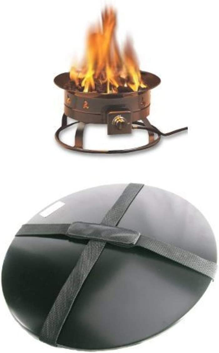 Heininger 58,000 BTU Portable Propane Outdoor Fire Pit and Cover with Carrying Handle