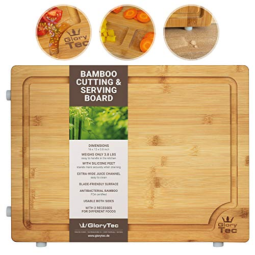 EXTRA LARGE Bamboo Cutting Board for Kitchen - Wide Groove on one side reversible with 2 Compartments for different foods - Professional Grade Cuttingboard, Butcher Block
