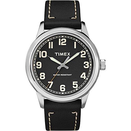 Mens Timex Analog Fashion Watch (Timex Men's TW2R22800 New England Black/Silver Leather Strap Watch)