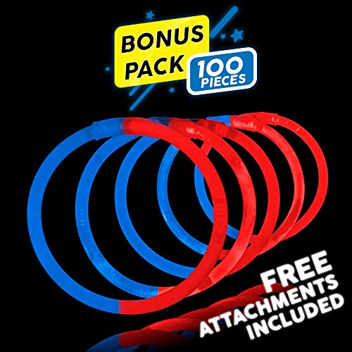 Lumistick 8 Inch 100 Pack Glow Sticks - Bendable Glow Sticks with Necklace and Bracelet Connectors - Glowstick Bundle Party Bracelets Best for Parties, Events and Holidays (Blue/Red, 100)]()
