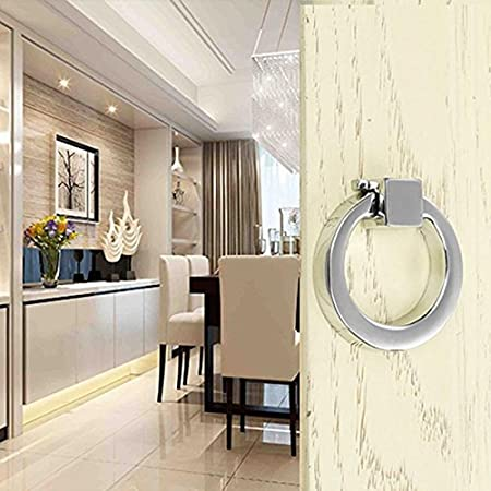 6pcs Modern-style Cupboard Pulls Zinc-alloy Casting Drawer Knobs and Handles, Chrome-finish Ring Pull by Choubao (Gold)
