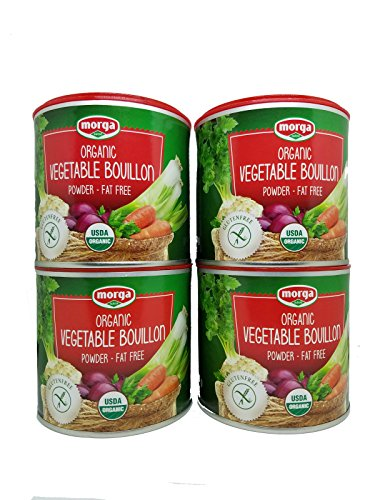 Morga USDA-ORGANIC Vegetable Bouillon Powder (4 Cans x 5.3oz / 150g) (Veggie Broth / Stock / Base / Soup / Cubes / Herbs / Seasoning)