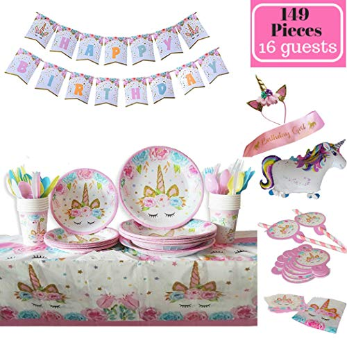 Unicorn party supplies   149 pieces set   Plastic Cutlery   Serves 16 people   Gold Glitter Headband and Pink Satin Sash  Girls Happy Birthday  Banner Decorations  Napkins   Cups   Durable paper design   Non-toxic material
