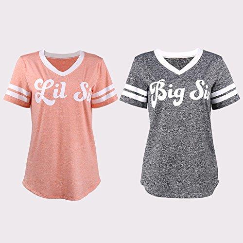 Tee Casual Manica Shirt Blouse V Camicia Donne Amico Sorella Rosa A Tops Stampa Scollo Grande Corta Minetom Migliore Maglietta FBZwSCqSx