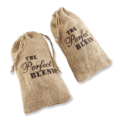 Kate Aspen Set of 12 The Perfect Blend Coffee Favor Kit, Rustic Burlap Bridal Blend Coffee Wedding Favors