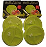 Healthy Portions Diet Control Plates- (4 Pack) - Innovative design for Losing Weight with 3-Sections & Leak-Proof Lids - Reusable, Easy to Clean, Microwave & Dishwasher Safe | BPA free