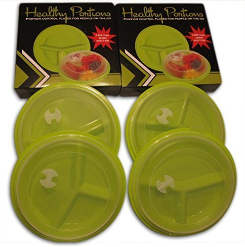 Healthy Portions Diet Steer Plates- (4 Pack) - Innovative design for Losing Weight with 3-Sections & Leak-Proof Lids - Reusable, Casual to Clean, Microwave & Dishwasher Safe | BPA free