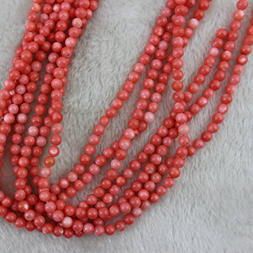 6mm Round Pink Shell Beads Loose Gemstone Beads for Jewelry Making Strand 15 Inch (63-66pcs) (Loose Shell Beads Strands)