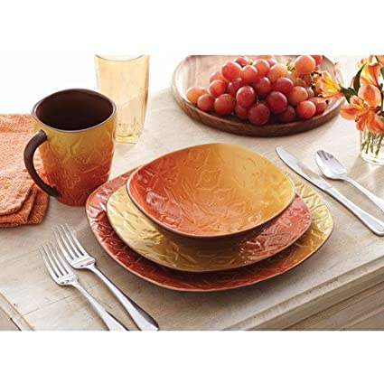 Better Homes and Gardens Southwest 16-Piece Square Dinnerware Set Orange  sc 1 st  Amazon.com & Amazon.com | Better Homes and Gardens Southwest 16-Piece Square ...