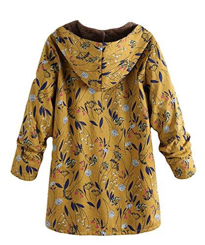 Cálido Chaqueta Flor Invierno Mujer Parka Midi Verde Manga Larga Capucha Blackmyth Impresion Outwear Length Plush Abrigo qYEfTxw