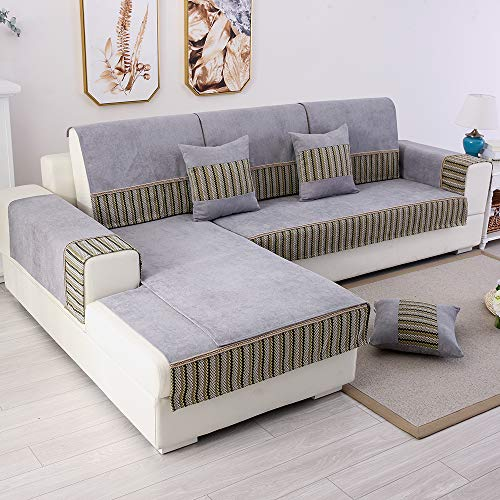 TEWENE Couch Cover, Sofa Cover Couch Covers Sectional Couch Covers Anti-Slip Sofa Slipcover for Dogs Cats Pet Love Seat Recliner 3 Cushione Couch Gray (Sold by Piece/Not All Set) (Slipcovers Sectional Sofa)