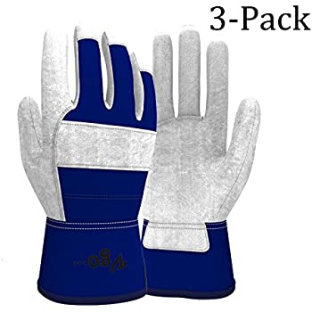 Vgo Glove Cow Split Leather Palm Work Gloves (3 Pairs, Men Size 9.5/M (Same as Women Size 10.5/L)