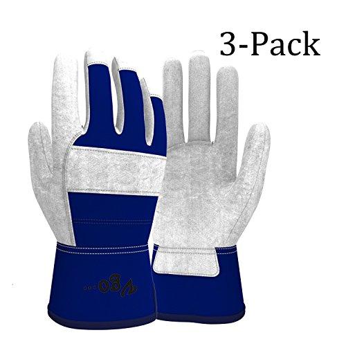 Vgo Glove Cow Split Leather Palm Work Gloves (3 Pairs, Men Size 9.5/M (Same as Women Size (Palm Work Gloves)