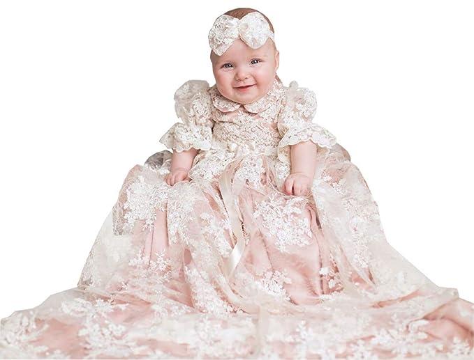 6197ccfcc ShineGown - Ropa de Bautizo - para bebé niña Blanco Blanco 0-3 Meses