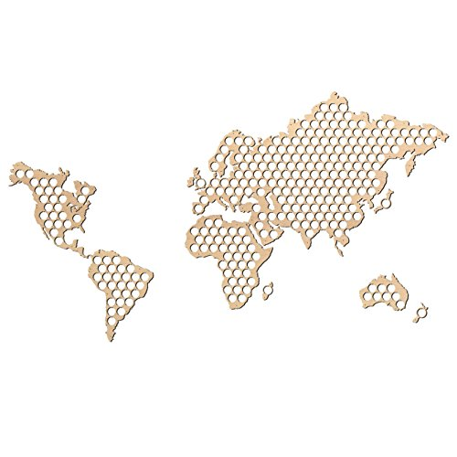 World Beer Cap Map World - 59x35 inches - 296 caps - Beer Cap Holder World - Birch Plywood