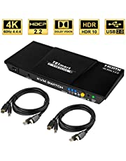 TESmart HDMI KVM Switch 2 Port HDMI Switcher 4K@60Hz 4:4:4 2 in 1 Out HDMI Switch Box Support USB 2.0 HDMI 18 Gbps 2 Port KVM Switch HDMI for PS4,Xbox,Sky Box