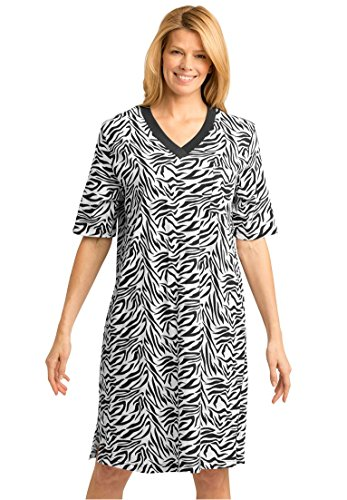 Dreams & Co. Women's Plus Size Short Knit Sleepshirt Black White Zebra,3X/4X