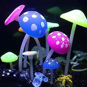 Topker Luminoso Artificial Falso Lotus hojas hierba setas Fish Tank decoración ornamento de acuario