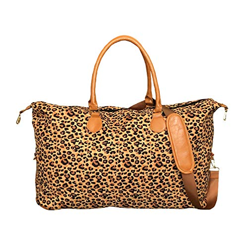 MONOBLANKS Lilly Inspired Print Weekender Bag,Canvas Leather Travel Totes Duffel Bag (Leopard)