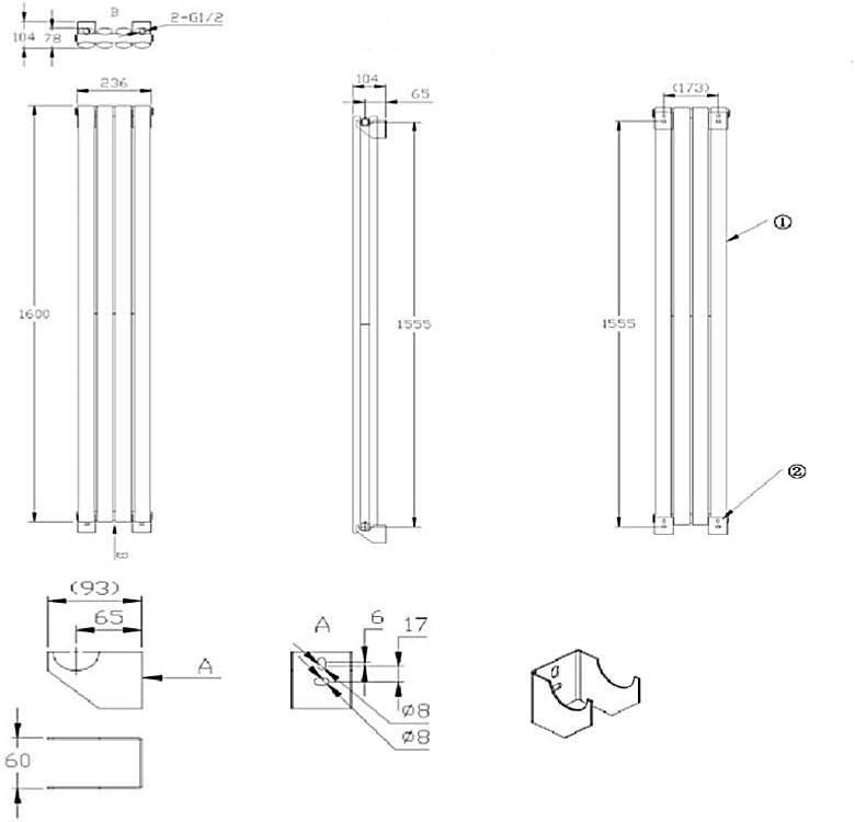 Radiateur Design Vertical Noir 160 x 35,4cm Milano Hudson Reed Vitality