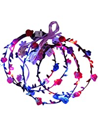 10&20 Pcs LED Light-up Flower Crown with Floral Headband and Hairpiece