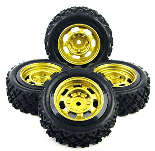 NuoYa001 NEW 4 Pcs RC 1/10 Rally Racing Off Road Car Rubber Tires Wheel Rim PP0147+PP0487