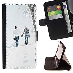 For Sony Xperia Z3 D6603 - Love Winter Couple /Funda de piel cubierta de la carpeta Foilo con cierre magn???¡¯????tico/ - Super Marley Shop -