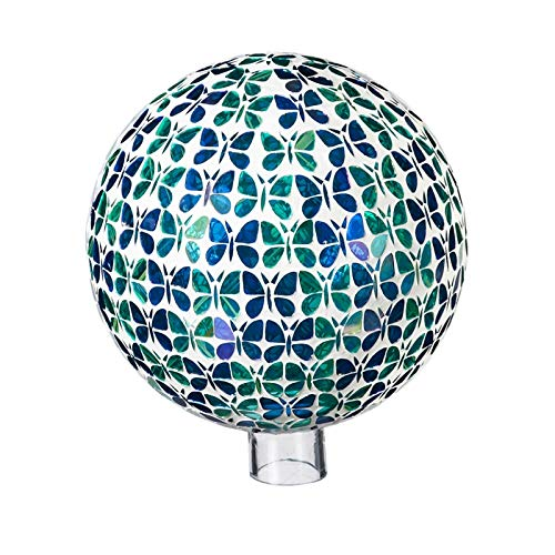 Evergreen Garden Blue and Green Mosaic Butterflies 10 inch Glass Gazing Ball