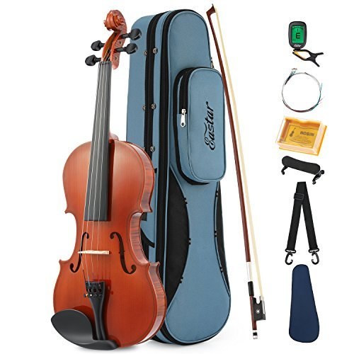 Eastar EVA-1 1/2 Natural Violin Set For Beginner Student with Hard Case, Rosin, Shoulder Rest, Bow, Clip-on Tuner and Extra Strings by Eastar