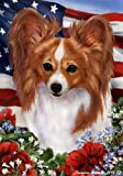 Papillion Dog Breed Patriotic House Flag 28 x 40 Inches Red-White
