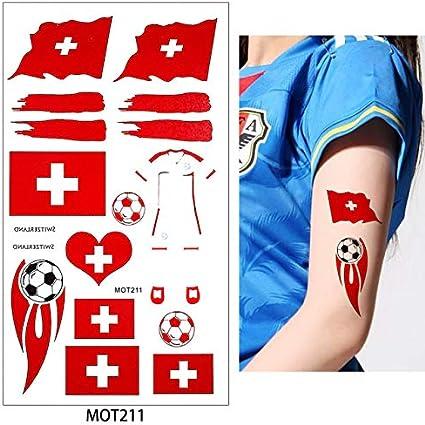 HXMAN 8 Países Diseño 2 Mesa 2018 Copa Mundial De Fútbol Tatuaje Pegatina Estacas Alemán Rusia Temporal Diy Cuerpo Tatuaje (2 Pack) MOT211 Swezelan: Amazon.es: Belleza