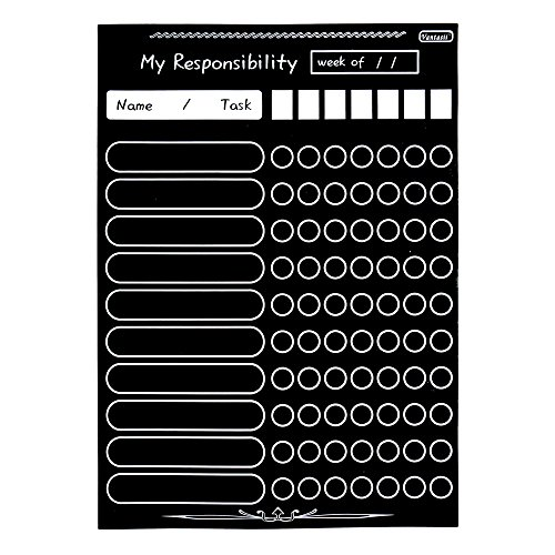 Magnetic Refrigerator Chalkboard (8 Free Markers) Dry Erase CHORE / RESPONSIBILITY / ACTIVITY / REWARD STAR / EXERCISE / DIET / NUTRITION CHART(16inch X 12inch Horizontal Flat Pack) Photo #4