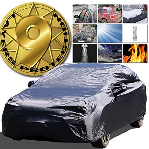 9-Layer All Weather Proof Breathable Lining Full Car Cover for Up to 13.5' Vehicles (Black)