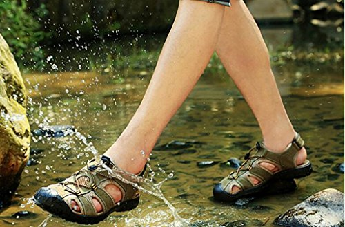 DADAWEN Herren Sport Sandalen Trail Outdoor Wasserschuhe Khaki