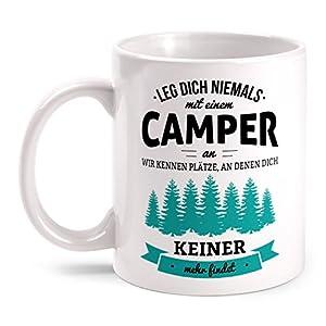 Fashionalarm Tasse Leg dich niemals mit einem Camper an beidseitig bedruckt mit Spruch | Geburtstag Geschenk Idee…