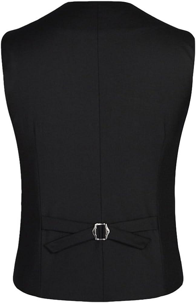 LaoZanA Mens Casual Sleeveless Waistcoat Single-Breasted Regular Fit Business Vest Waistcoat Formal Dress Gilet Waistcoat