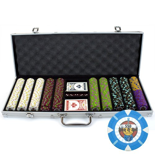 Claysmith Gaming 500 Count Rock & Roll Poker Set – 13.5 Gram Clay Composite Chips with Aluminum Case, Playing Cards, Dealer Button for Texas Hold'em, Blackjack, Casino Games by by Claysmith Gaming