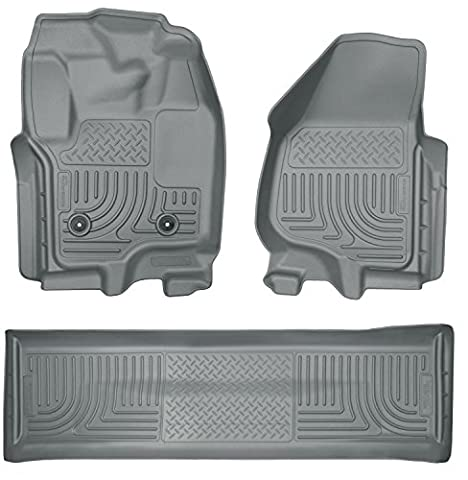 2012-2016 Ford F-450 Super Duty Crew Cab - Husky Liners Weatherbeater Series (Full Set Includes 1st and 2nd Row) - Models Without Floor Shifter - F-series Super Cab
