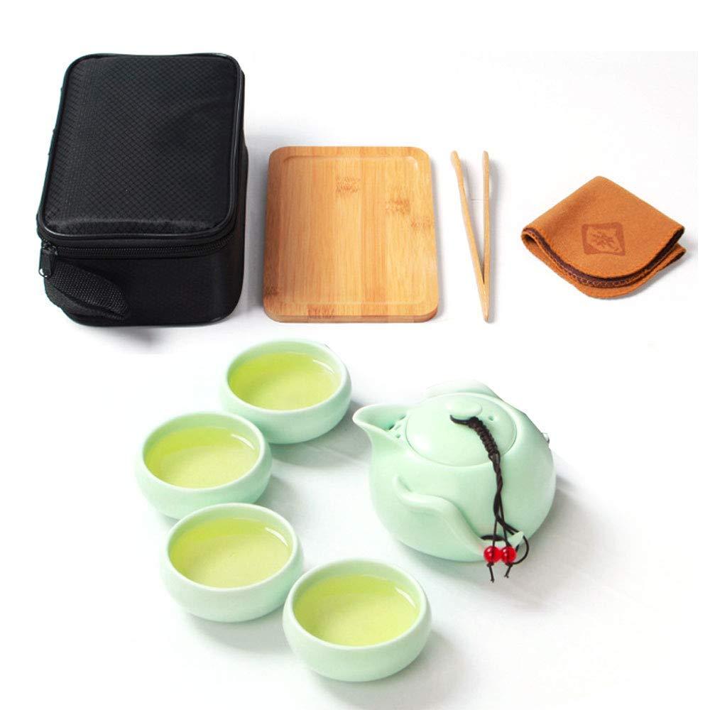 Handmade Chinese / Japanese Vintage Kungfu Gongfu Tea Set - Porcelain Teapot & 4 Teacups & Bamboo Tea Tray with a Portable Travel Bag Koreatrends